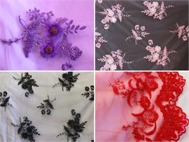 Mesh Lace 3D Floral Beads Fabrics