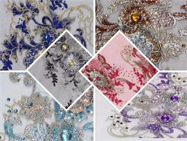 Mesh Sequin Fabric Embroidered 3D Flower Cording