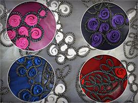 Mesh Metallic Embroidered Soutache Cording Fabrics