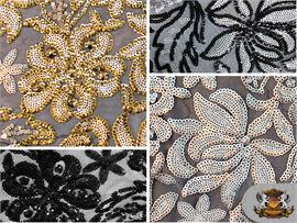 Sequin Floral Embroidered Micro Disc Magnolia Fabrics