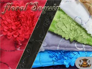 Taffeta Embroidered Floral Sequin Fabrics