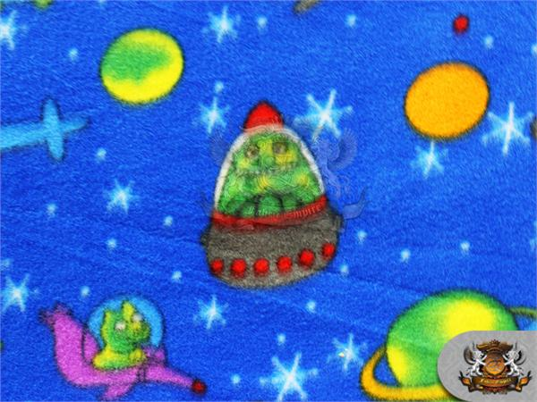 Fleece printed fabric space aliens 58 wide sold by for Space fleece fabric