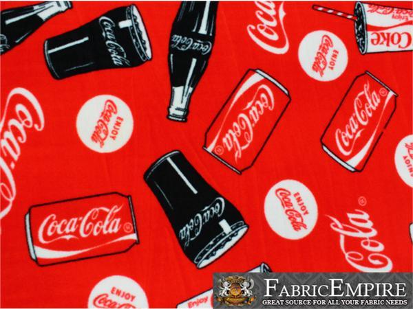 Polar Fleece Fabric Print Coca Cola Tossed 60 Quot Wide Sold