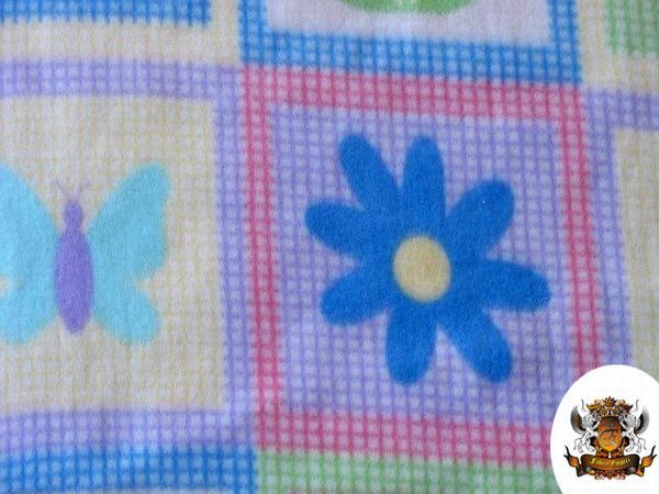 Polar fleece fabric print floral baby blanket 60 w for Children s flannel fabric by the yard