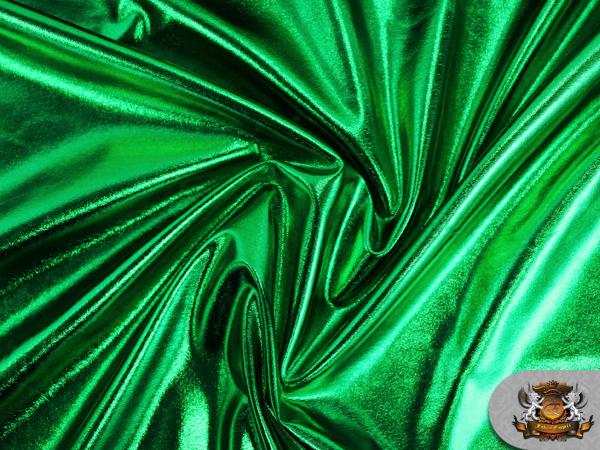 Spandex metallic emerald green fabric 60 sold by the for Emerald satin paint