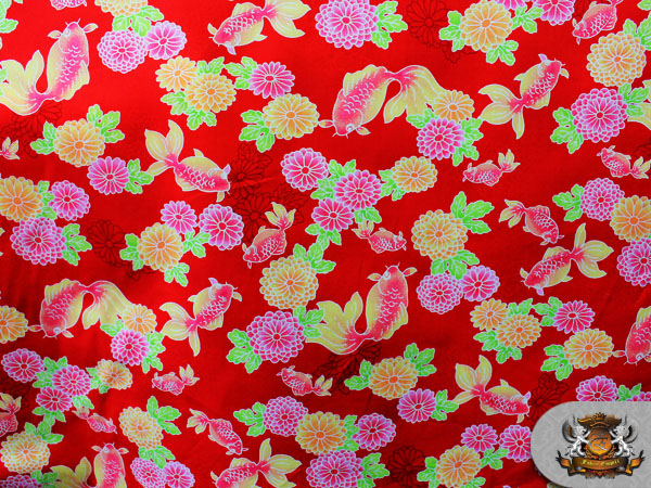 100 cotton print fabric notions in paradise koi fish red for Koi fish print fabric