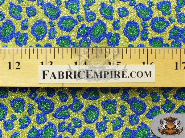 "BTY 54/"" Wide Glitter Leopard Stardust GOLD BLUE GREEN Crafting Vinyl Fabric"