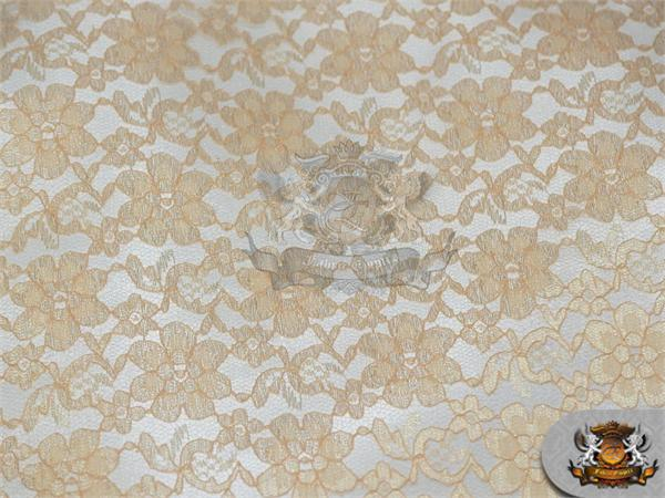 """Lace Floral Rachelle Fabric GOLD / 60"""" Wide / Sold By The Yard"""