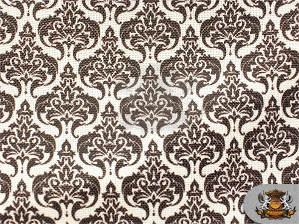 Burlap Polyester Damask Print Fabric White 60 Quot Wide