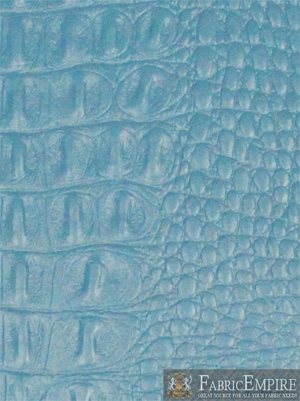 Vinyl Crocodile Gator Pool Blue Fake Leather Upholstery Fabric By