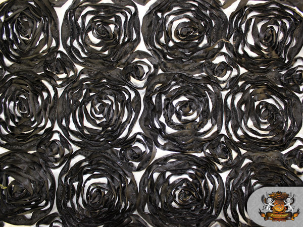 2 Tone Rosette Satin Fabric Black And White Swatch