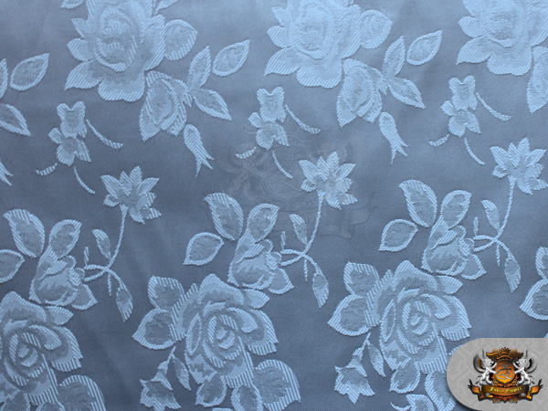 Satin Floral Jacquard Fabric Light Blue 60 Quot Wide Sold By