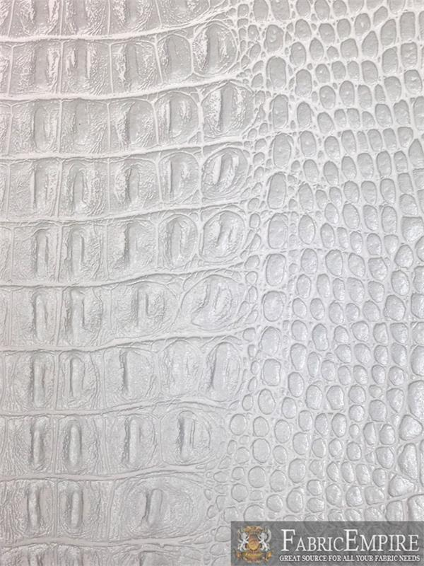 Vinyl Crocodile Gator Silver Fake Leather Upholstery Fabric By The Yard