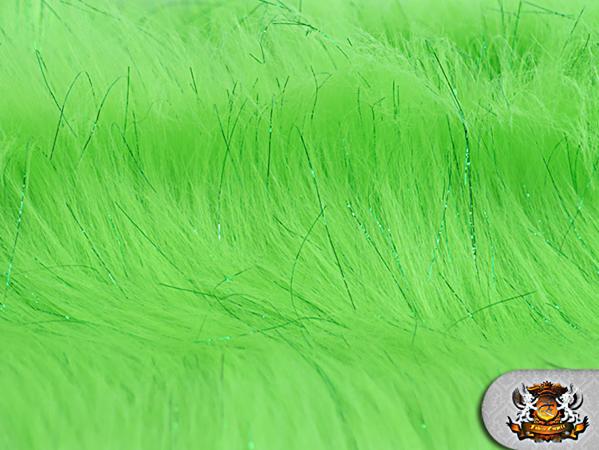 Faux fur long pile sparkling tinsel lime fabric quot w