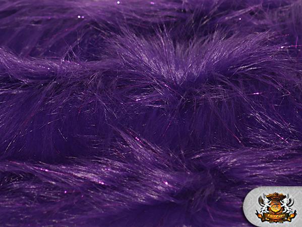 Faux fur long pile sparkling tinsel purple fabric quot w