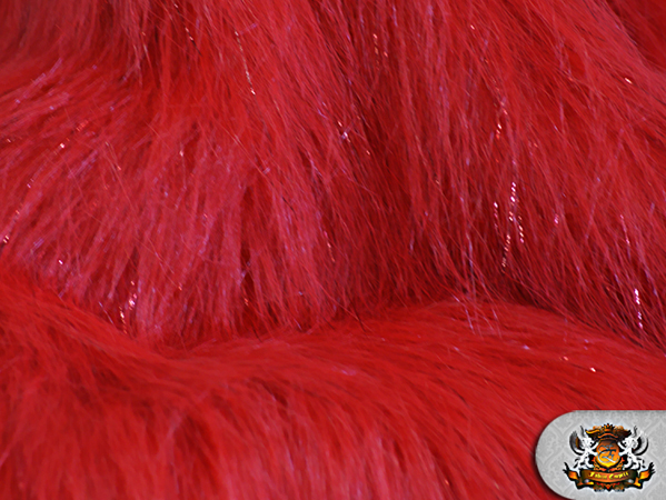 Faux fur long pile sparkling tinsel red fabric quot w