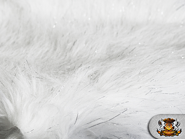 Faux fur long pile sparkling tinsel white fabric quot w