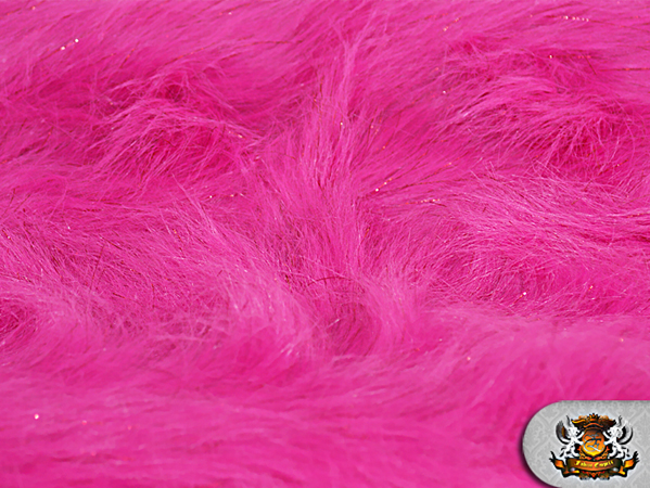 Faux fur long pile sparkling tinsel fuchsia fabric quot w