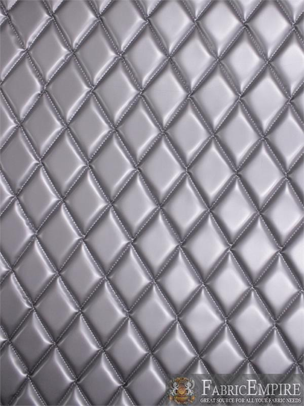 Vinyl Patent Quilted Foam Matte Dull Silver Fabric 2 X 3