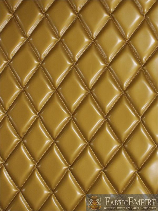Vinyl Patent Quilted Foam Matte Dull Gold Fabric 2 X 3