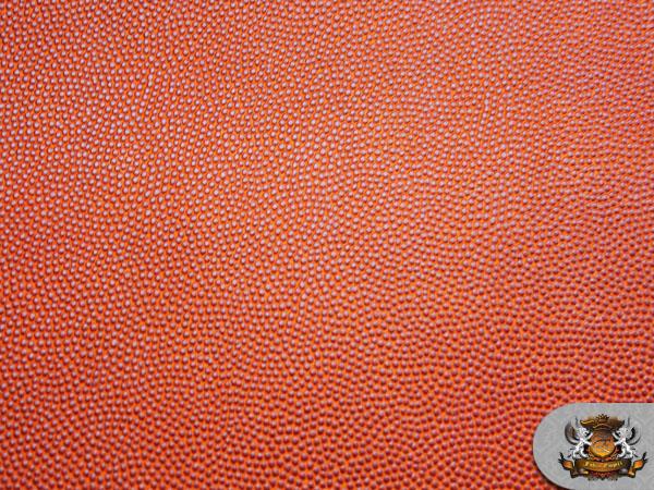Vinyl Basketball 54 Wide Orange Fake Leather Upholstery Fabric