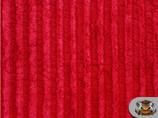 Minky Long Pile Grooved Red Fabric By The Yard Ebay