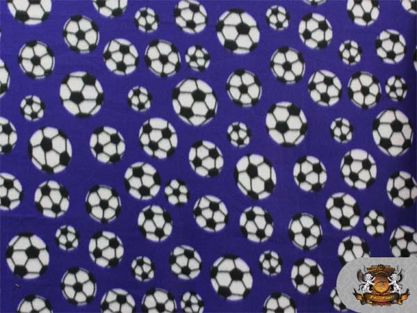 fleece printed soccer ball violet fabric by the yard ebay. Black Bedroom Furniture Sets. Home Design Ideas