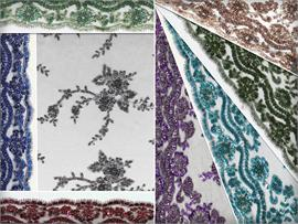 Lace Hand Beaded Floral  Viscaria Fabrics