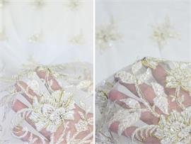 Mesh Fabric Vintage Floral Wedding Embroidered Hand Beaded