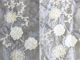 Organza Floral Hand Beaded Cording Fabrics