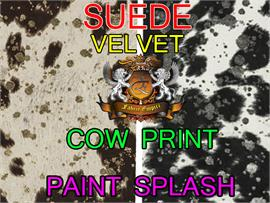 Suede Velvet Cow Print Fabric With Paint Splash Udder Madness Upholstery