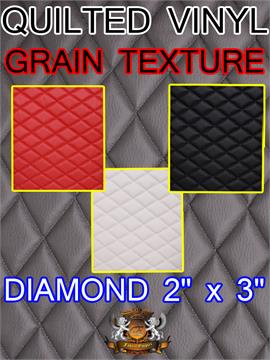 "Quilted Vinyls Grain Texture Diamond 2"" x 3"" With 3/8"" Foam Upholstery Foam Backing Fabric"