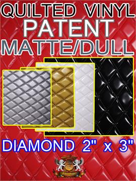 "Quilted Vinyls Patent MATTE DULL Diamond 2"" x 3"" With 3/8"" Foam Upholstery Foam Backing Fabric"