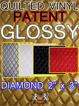 "Quilted Vinyls Patent GLOSSY Diamond 2"" x 3"" With 3/8"" Foam Upholstery Foam Backing Fabric"