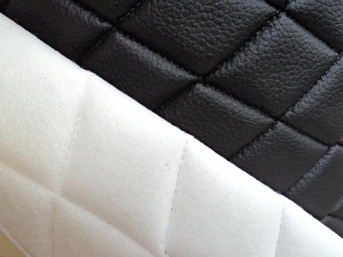 Vinyl Quilted BLACK Fabric 3 8 FOAM BACKING UPHOLSTERY