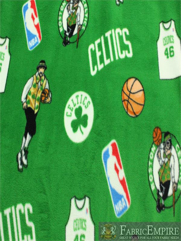 Nba Boston Celtics All Over Green Background Fleece Fabric Sold By The Yard