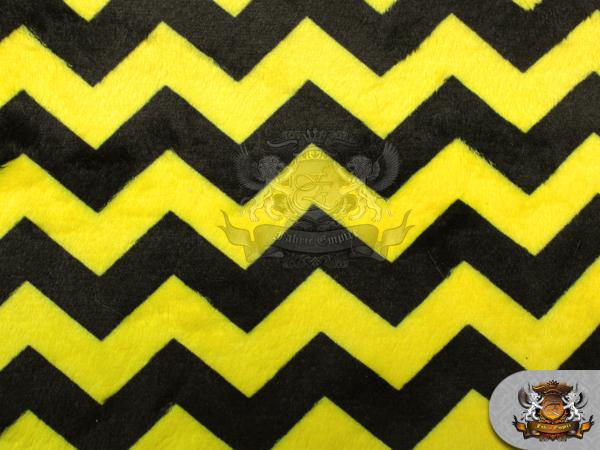 Minky Print Fabric Chevron MINI BLACK YELLOW / 58\