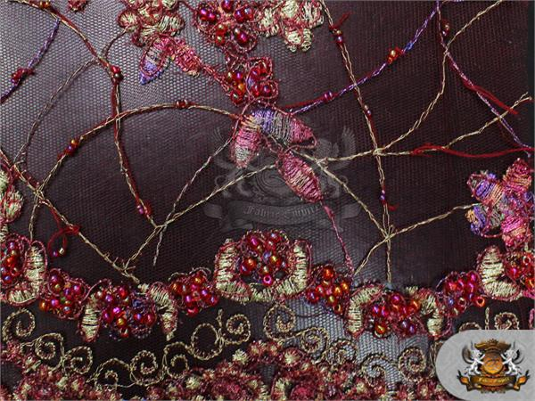 Mesh lace embroidered floral hand beaded fabric burgundy