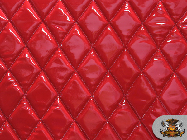 Vinyl QUILTED FOAM GLOSSY RED Fabric W 3 8 FOAM BACKING