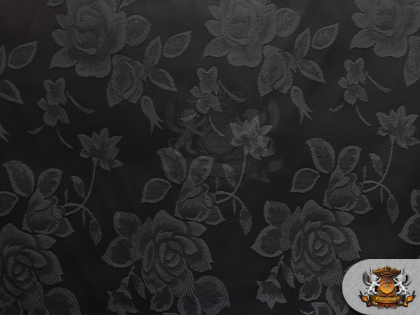 "Satin Floral Jacquard Fabric BLACK / 58"" Wide / Sold by ..."