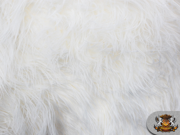 faux fur mongolian fabric white long pile fabric sold by the yard ebay. Black Bedroom Furniture Sets. Home Design Ideas