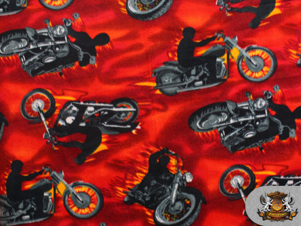 Fleece printed fabric red hot motorcycles 58 wide for Spaceship fleece fabric